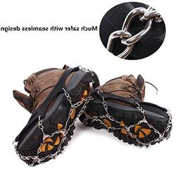 EONPOW 12 Teeth Claws Crampons Non-slip Shoes Cover Stainles