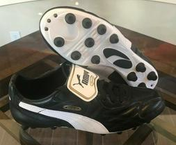 $220 Puma King Top DI FG Leather Soccer Cleats Black White G