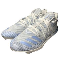 Adidas Afterburner 6 Iced Out Baseball Cleats White Blue Met