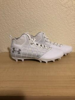 Under Armour Banshee Mid MC White/Silver Lacrosse Cleats Siz