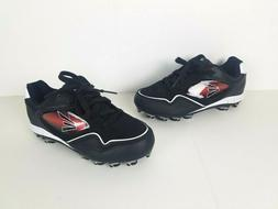 Easton Cleats Baseball Shoes Boys Youth Sz 6 Laces Black Red