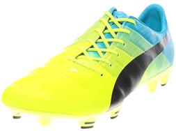 PUMA Men's Evopower 1.3 FG-M, Safety Yellow/Black, 8.5 D US