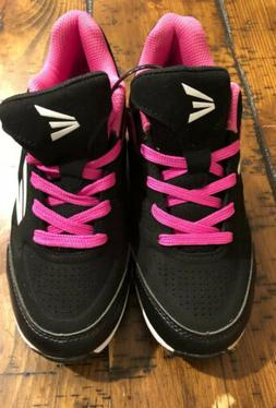 GIRLS EASTON 360 BLACK WITH PINK TRIM BASEBALL SPORTS CLEATS