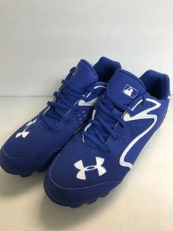 KID'S BASEBALL CLEATS, UNDER ARMOUR, BLUE AND WHITE, SIZE 6Y