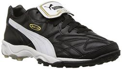 PUMA Men's King Allround TT Soccer Cleat,Black/White/Gold,8.