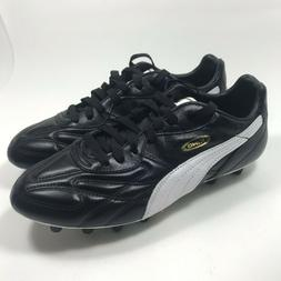 PUMA King Top DI FG Leather Soccer Cleats Black White Gold S