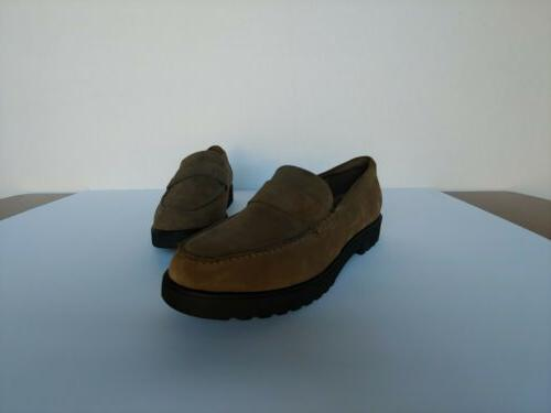 Clarks Suede Cleated Loafers Olive Women's Size 8 New