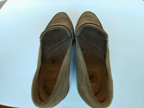 Clarks Suede Cleated Loafers Olive Women's