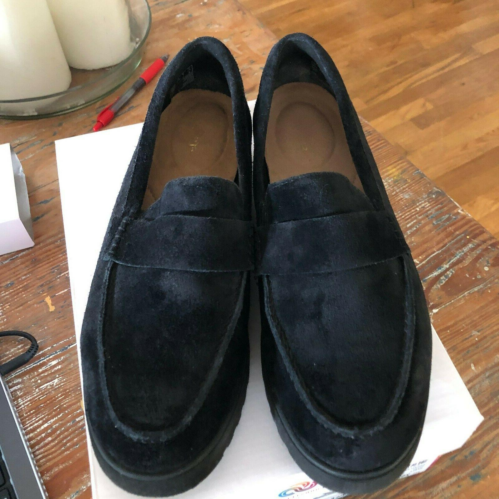 Clarks BLACK Cleated Loafers Bellevue 7W