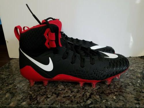 football cleats mens black red size 12