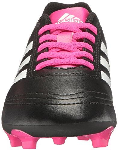 adidas VI Ground Soccer Cleats, Black/White/Shock Pink, 1 Kid