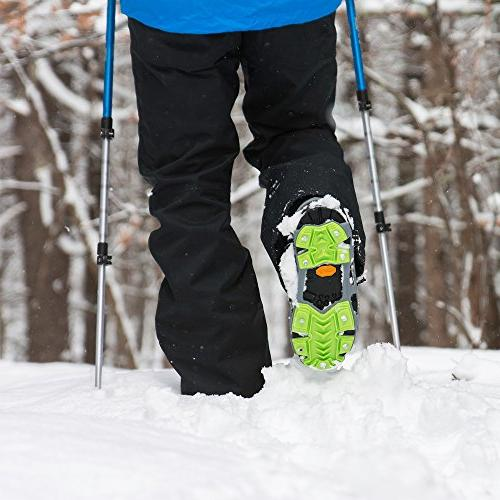 STABILicers HIKE in High Performance Snow and Cleats Shoes and Boots, 25 Replacement Included, Gray/Green, Size