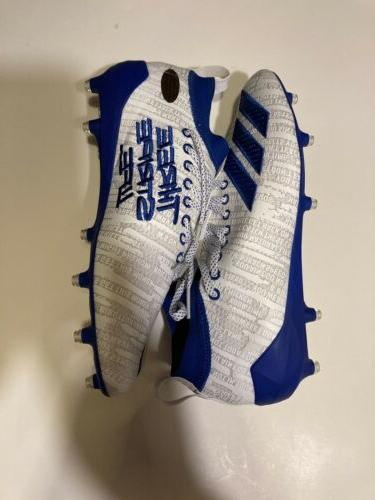 NEW THREE Size 10.5 Cleats White Blue