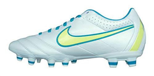 NIKE Tiempo Mystic FG Womens Leather Cleats-White-9