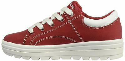 Skechers Women's Canvas Contrast Stitch Up, Red, kc