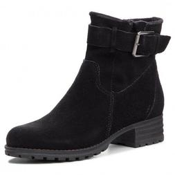 Clarks Ladies Marana Amber Black Suede Ankle Boots With Buck