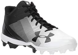 Under Armour Men's Leadoff Mid RM Baseball Shoe, Black /Whit