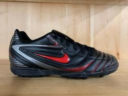 NIKE MARQUIS TF BLACK SPORT RED INDOOR SOCCER CLEATS SZ 9.5