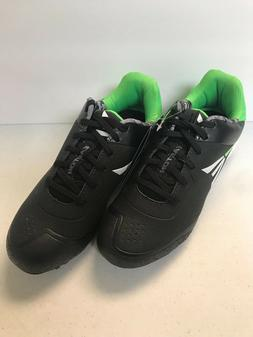 KIDS BASEBALL CLEATS, EASTON, BLACK AND GREEN, SIZES 2Y TO 6