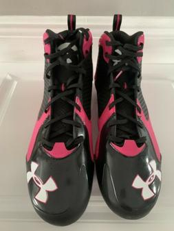 Mens Under Armour Highlight Clutch Fit Pink And Black Footba