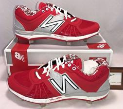 New Balance Mens Size 11 Low Metal Baseball Cleats Red Silve