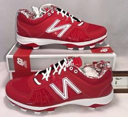 New Balance Mens Size 12.5 Low Molded Baseball Cleats Red Wh