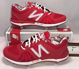 New Balance Mens Size 13 Low Metal Baseball Cleats Red White
