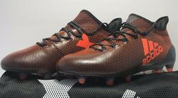 Adidas Mens Size 9 X 17.1 FG Black & Solar Orange Soccer Cle