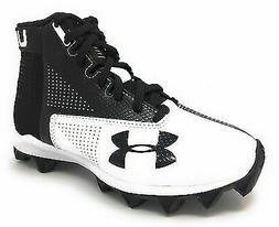 New Mens Under Armour Renegade RM Mid Football Cleats Black/