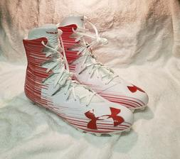 New Under Armour UA Highlight MC Football Cleats White/Red 1