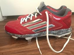 RED GREAT CONDITION METAL ADIDAS SOFTBALL CLEATS, SIZE 9 WOM