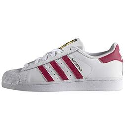 "ADIDAS GIRL'S SUPERSTAR ""WHITE/BOLD PINK"" BIG KIDS US SIZE 6"