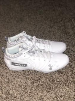 UNDER ARMOUR UA NITRO MID MC FOOTBALL CLEATS WHITE SILVER SI