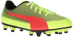 PUMA Unisex-Kids Spirit FG Soccer-Shoes, Fizzy Yellow-Red Bl
