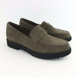 Clarks Women Loafers 9.5 Olive Artisan Suede Cleated  Bellev