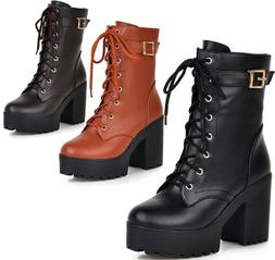 Womens Army Military Chunky Cleated Platforms Ankle Boots Hi