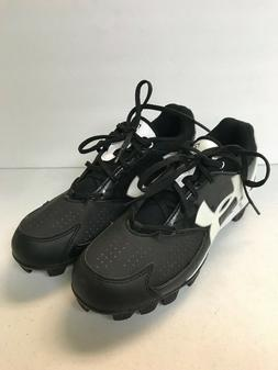 WOMENS SOFTBALL CLEATS, BRANDED UNDER ARMOUR BLACK & WHITE,